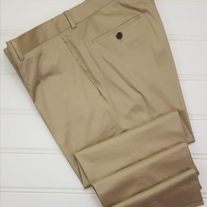 Hugo Boss Pants 37x35 Beige Flat Front Trouser Cot